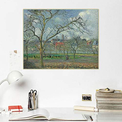 Impresión en lienzo Camille Pissarro 《Huerto de Saint Ouen Laumone en invierno Pontoise》 Lienzo Pintura al óleo Imagen Pared Decoración para el hogar 60x80cm Sin marco