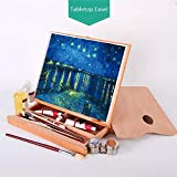 Adjustable Tabletop Easel Beech Wood Art Desktop Easel Portable Art Easel for Painting, Sketching, Drawing with Storage Drawer and 1 Paint Palette, Suitable for Adults, Children, Beginners & Artists