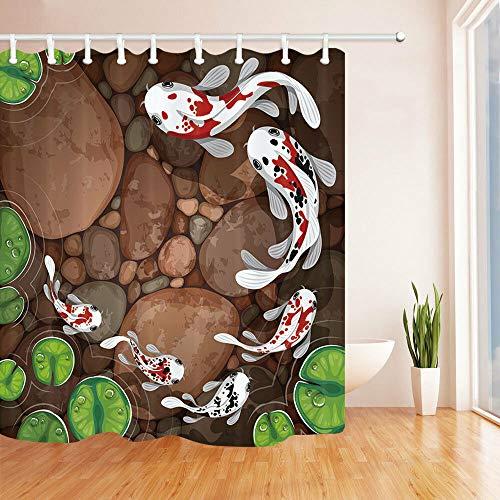 Palmblätter & Wassermelone Duschvorhang Badezimmer Stoff und 12hookses