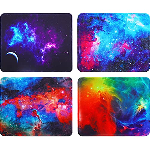 4 Pieces Mouse Pad with Stitched Edge, Gaming Mouse Pads Square Non-Slip Rubber Base Mouse Pads Starry Sky Desk Accessories for Computers Laptop Office, 9.5 x 7.9 x 0.12 Inch