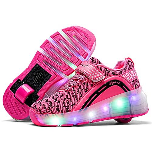 Nsasy Rollschuhe für Mädchen und Jungen, Rollschuhe mit LED-Licht, für Kinder, Pink (123-rose-single Wheel), 30.5 EU
