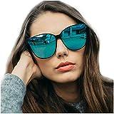 LVIOE Katzenauge Rahmen Damen Mode Sonnebrille UV400-Schutz Groß (Blau)