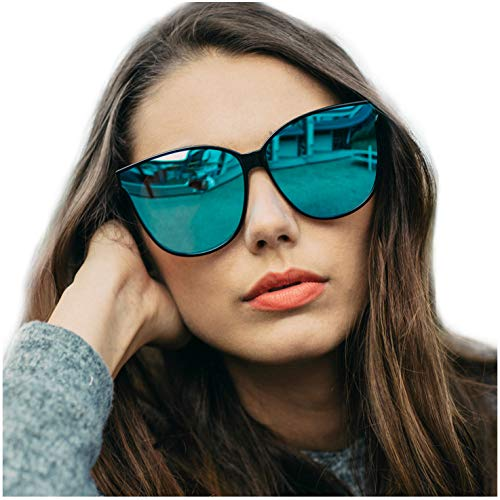 Gafas de sol estilo ojo de gato extragrandes con lentes de protección 100% UV polarizadas para las mujeres que conducen gafas de moda (Marco Negro/Lente Azul)
