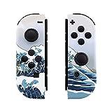 eXtremeRate NS Joycon Hülle Gehäuse Case Cover Schale Ersatzteile Tasche für Nintendo Switch Joycon Controller mit vollständige Tasten(Welle)-Keine Console Hülle