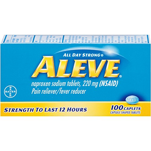 Aleve Tablets Naproxen Sodium 220 mg NSAID Pain Reliever/Fever Reducer 100 Count