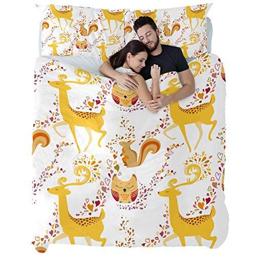ASDFSD Juego de colcha de 3 piezas con diseño de búho de ciervo y ardilla de 3 piezas de algodón, colcha de patchwork, juego de cama para accesorios de dormitorio, King