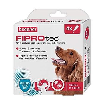 BEAPHAR - FIPROTEC 134 mg - Solution spot-on pour chiens moyens (10-20 kg) – À base de Fipronil – Élimine les puces - Protège contre les infestations par tiques et puces – 4 pipettes de 1,34 ml