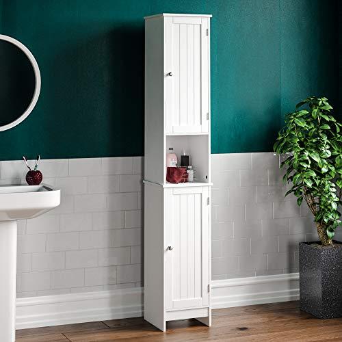Bath Vida Priano Bathroom Cabinet Storage Cupboard Floor Standing Wooden Tallboy Unit, White