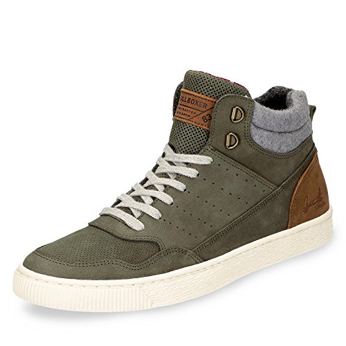 BULLBOXER Herren High-Top Sneaker 648K56909,Männer Stiefel,Sportschuh,Schnürschuh,Sneaker-Stiefel,mid Cut,Green,EU 42