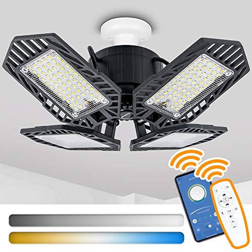 100W Dimmable LED Garage Light, Colors Adjustable Deformable Garage Lighting with Remote Control, APP Control Timing Garage Lights Ceiling Led for Basement, Workshop E26/E27 (Warm White to Daylight)