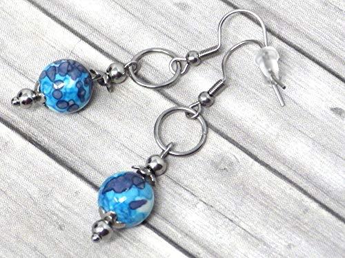 Pendientes de mujer en acero inoxidable con anillos y perlas de Jade tintadas en azul y blanco