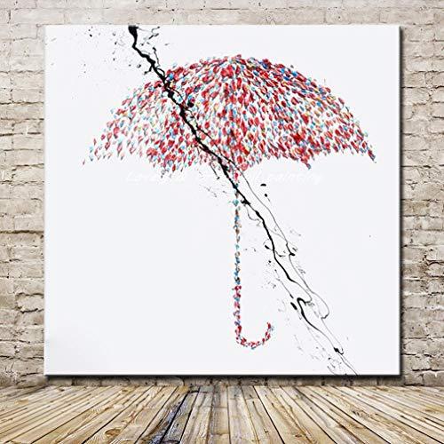 SHYHSCLBD olieverfschilderij op canvas handgeschilderd, abstract rood paraplu zwart flits, grote moderne handgeschilderde kunstwerken voor woon- en eetkamer slaapkamer kantoor hotel bibliotheek wanddecoratie 130×130cm