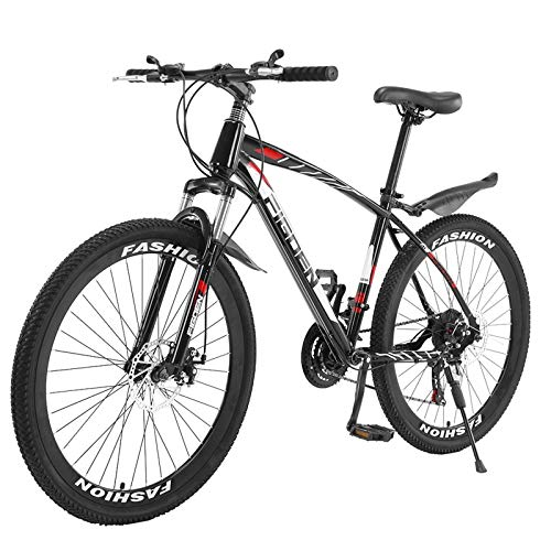 Mountain Bike,26 Inch Mountain Bike with 21 Speed Dual Disc Brakes Full Suspension Non-Slip Suitable for Mountain/Wasteland/Roads/Cities/Beaches/Snow