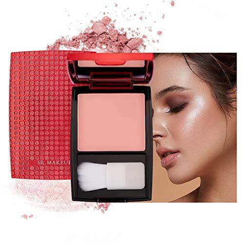 Mimore Rubor Monocromo Maquillaje colorete mate,Paleta de colorete de mejillas de contorno sedoso cosmético profesional,Colorete mate de larga duración Con brocha y espejo de maquillaje