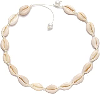 morvally Shell Choker Necklace for Women Girls Pearl Necklace Statement Adjustable Sea Shell Cord Bib Collar Necklace Bracelets Set Boho Hawaiian Summer Beach Jewelry