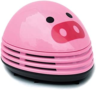 (Pink Pig) - discoGoods Annoyed Prints Emoticon Pattern Battery Operated Desktop Vacuum Cleaner Mini Dust Cleaner (Pink Pig)