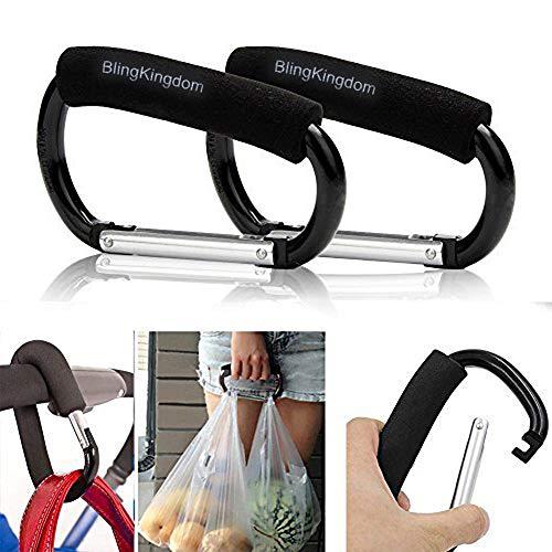 "2pcs Strong Large Durable Buggy Carabiner Stroller Hooks Mummy Clip Pram Pushchair Grocery or Diaper Bags Holder - 14cm (5.5"")"