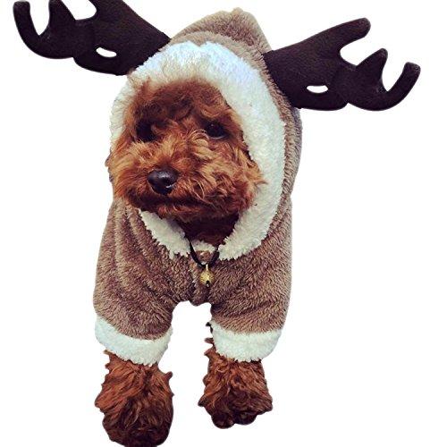DWE - Disfraz de perro de Navidad, diseño de reno, alce de ciervo, disfraz de perro, para cachorro, para peluche, Chihuahua, Yorkshire Terrier