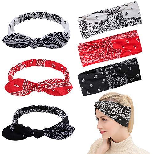 3er Pack Stirnbänder Vintage Elastic Twisted Knot Haarband und 3er Pack Rabbit Ear Bow Haarstyling Zubehör für Frauen und Mädchen