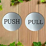 QIQIHOME 3' Brushed Stainless Pulls Round Premium Horizontal Push Pull Door Sign Pull & Push Door Stickers Safety Sign Decals Shop Window Salon Bar Cafe Restaurant Office (3 inch Silver,1 Pair)