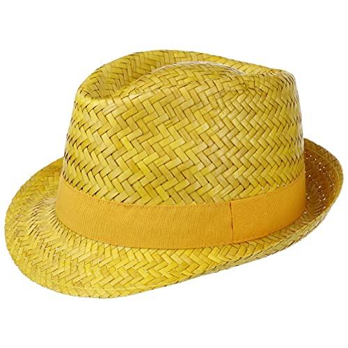 Chapeau Valencia Trilby en Paille chapeaux de paille chapeaux pour homme (53 cm - jaune)