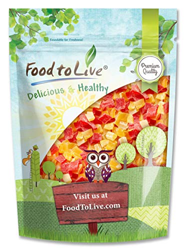 Diced Fruits Mix, 1 Pound - Contains Dreid and Diced Mango, Pineapple, Papaya. Sweetened, Unsulfured, Candied Vegan Snack, Kosher, Bulk, Great for Culinary Use and Baking