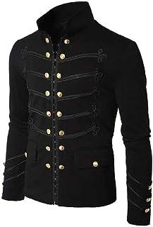 Vintage Solid Men Gothic Jacket Steampunk Tunic Rock Frock Uniform Male Vintage Punk Costume Metal Military Coat Outwear