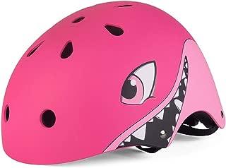 Kids Bike Helmet, Child Motorbike Helmet Adjustable Lightweight Safety Bicycle Cartoon shark helmet Helmet for Ages 3-12 Year Old Girls Boys for BMX Kiddimoto Riding Scooter,Pink