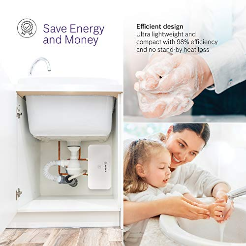 """Bosch Thermotechnology 7736505867, 3.6kW, Bosch US3-2R Tronic 3000 Electric Tankless Water Heater, 3.6 kW, 6.6"""" x 12.8"""" x 2.9"""", White"""