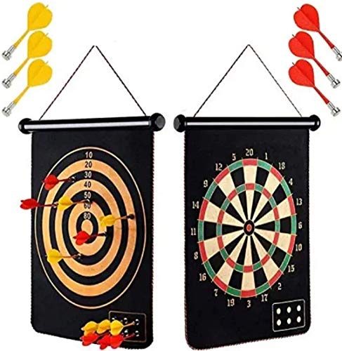 Toyshine Magnetic Power with Double Faced Portable and Foldable Dart Game with 6 Colourful Non Pointed Darts for Kids , Multicolour, 17-Inch (SSTP)