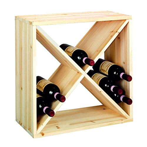 "Weinregal/Flaschenregal System CUBE 52, Modul ""X"" für 28 Fl, Holz Kiefer natur, stapelbar/erweiterbar – H 52 x B 52 x T 25 cm"