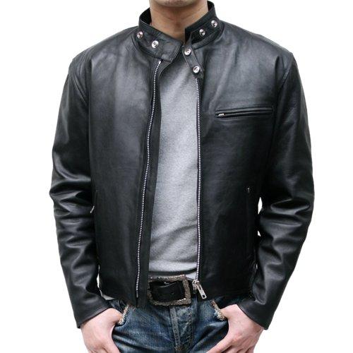 カウ革ジャン シングル ライダースジャケット レザージャケット メンズ 皮ジャン 4712 (4L, ブラック)