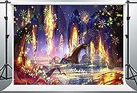 HD魔法の森の背景エンチャント川植物背景綿7x5フィートロッドポケットリビングルーム寮の装飾MBZYPH48