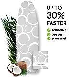 Widemex Exklusiver 3-Lagen Bügelbrettbezug mit zwei Spannclips | Bezugsgröße 140 x 45 cm (L) | Perfekte Gleitunterlage zum Bügeln aus 100% Baumwolle | Made in Europe