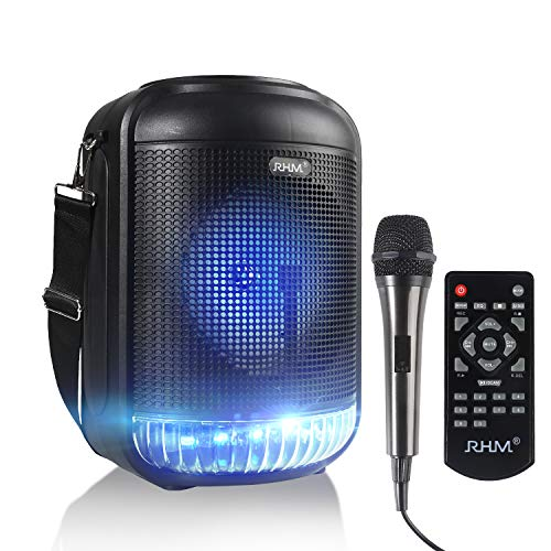 RHM Portable Karaoke Machine for Kids & Adults, Rechargeable Bluetooth Speaker with LED Light Wired Microphone, Wireless PA System with FM Radio, Recording, Remote Control