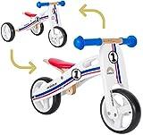 BIKESTAR 2 in 1 Bicicleta sin Pedales Madera para niños y niñas Bici Ajustable 7 Pulgadas | Bicicleta y Triciclo Mini a Partir de 1-1,5 años | 7' Edición Sport Blanco