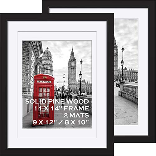 11x14 Picture Frames Black Solid Wood - Matted to Display Pictures 9x12 or 8x10 or 11x14 Frame without Mat - Wooden Photo Frame 11x14 inch Black with 2 Mats for Wall Mounting or Table Top , 2 Set