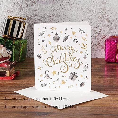 LUFEILI 5Pcs Creative Merry Natale Biglietti D'Auguri Dor Mazza Cartolina Regalo Xmas Capodanno Biglietti Di Auguri Regalo Bianco