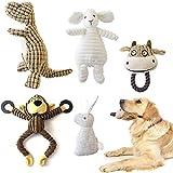 KONKY Juguetes para Perros, 5 Piezas Squeaky Toy Juguetes Duraderos para Cachorros Perro Pequeño Mediano, Chirriante Masticar Juguete de Entrenamiento, Dinosaurios, Monos, ovejas, Conejos y toros