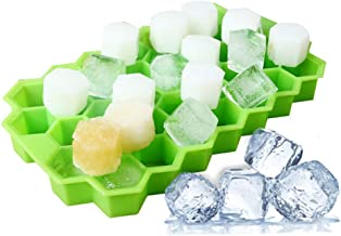Ice Cube Trays, JIAMO 1 Pack Silicone Ice Cube Molds with Lid Flexible 74-Ice Trays BPA Free, for Whiskey, Cocktail, Stackable Flexible Safe Ice Cube Molds (1)