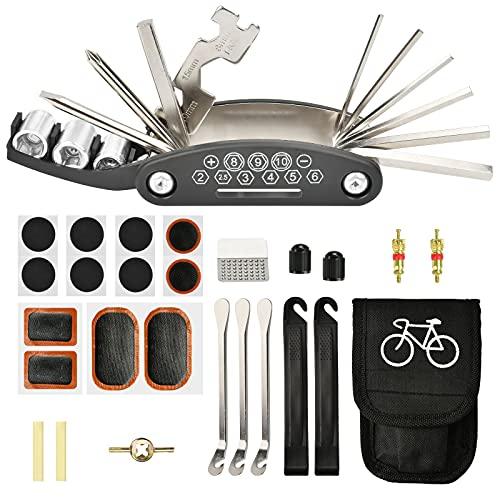 KATELUO Kit de Herramientas de Bicicleta, 16 en 1 de Herramienta Multifunción Bicicleta, Kit Reparacion Bicicleta Con Kit De Parche y Palancas para Neumáticos, Kit Herramientas Bicicleta con Bolsa