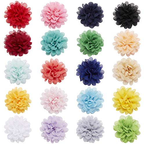 20 Pack Artificial Chiffon Silk Soft Large Flower Hair Clips Pins Alligator Hairpins Snap Barrettes Clamps Claws Wedding Bridal Prom Party Hair Styling Hawaiian Headpiece Decoration for Women Kids