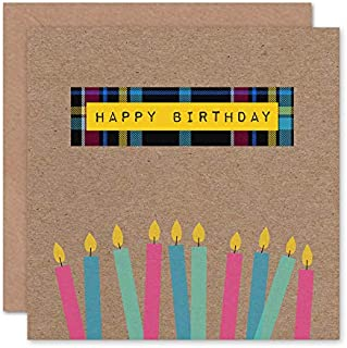 Wee Blue Coo Who Cares Scotland Birthday Tartan with Candles Greeting Card with Envelope Inside Premium Quality