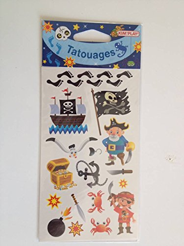 Equilibre et Aventure Tatouages garçon : Pochette de 15 Tatouages thème Pirates découpables sous Blister Individuel