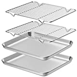 Wildone Baking Sheet with Rack Set [2 Sheets + 2 Racks], Stainless Steel Cookie Pan baking Tray with Cooling Rack, Size 12 x 10 x 1 Inch, Non Toxic & Heavy Duty & Easy Clean