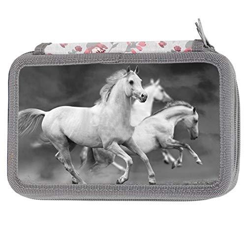 XXL Federmappe Federtasche Kinder Federmappe 3-fach 19 x 11 x 4 cm dreistöckig Pferde Federmäppchen