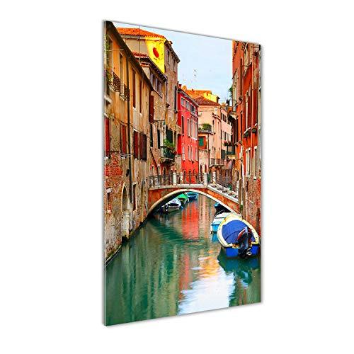 Tulup - Impresión sobre cristal de 70 x 140 cm, imagen decorativa panorámica para la cocina y el salón – Espectáculos y arquitectura, Venecia Italia, multicolor