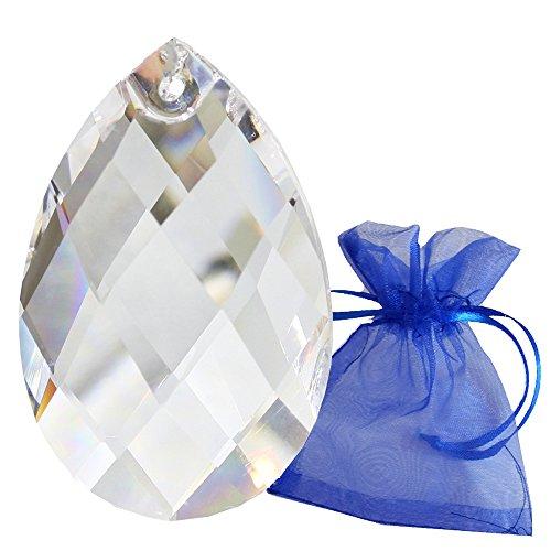 Kristall Tropfen 63mm im Geschenk-Beutel Facetten Wachtel Bleikristall Regenbogenkristall zum aufhängen Fensterschmuck Feng Shui und Waldorf Kristallglas Sonnenfänger