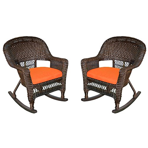 Jeco Rocker Wicker Chair with Orange Cushion, Set of 2,...