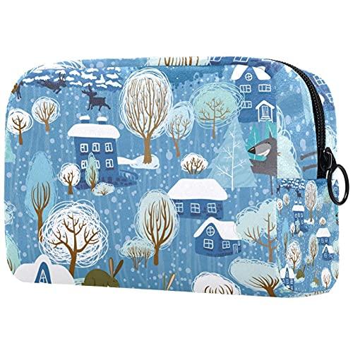 Wolf Full Moon Bolsa de maquillaje para monedero portátil organizador de viaje bolsa para artículos de tocador bolsa de belleza, Multicolor 07, 18.5x7.5x13cm/7.3x3x5.1in, Neceser de viaje